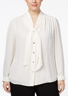 Tahari Asl Plus Size Tie-Neck Blouse