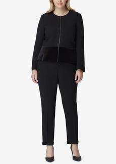 Tahari Asl Plus Size Velvet-Peplum Pantsuit