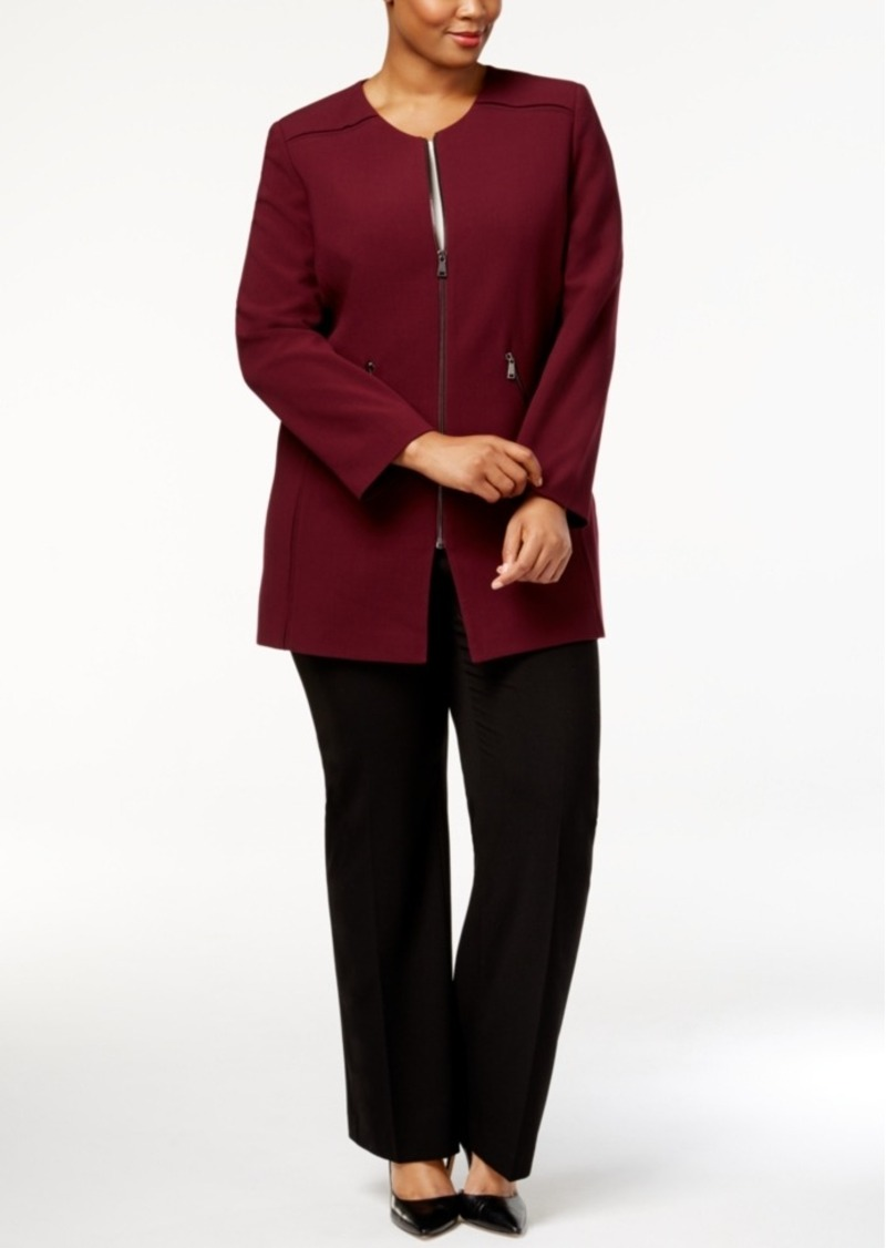 13490d54a04 On Sale today! Tahari Tahari Asl Plus Size Zip-Front Topper Jacket