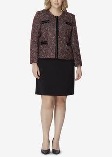 Tahari Asl Plus Size Zip-Up Jacket & Skirt Suit