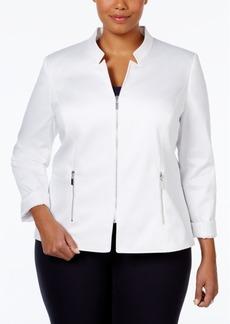 Tahari Asl Plus Size Zipper-Front Poplin Jacket