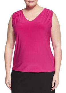 Tahari ASL Plus Solid V-Neck Jersey Blouse