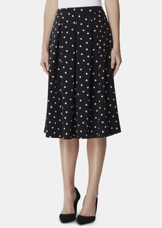 Tahari Asl Polka Dot Box-Pleated Skirt