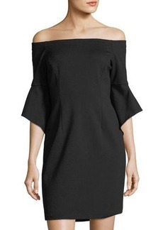 Tahari ASL Ponte Off-the-Shoulder Dress