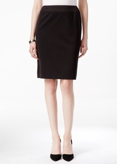 Tahari Asl Ponte Quilted-Waist Pencil Skirt