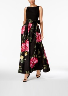 Tahari Asl Printed Bow-Front Gown