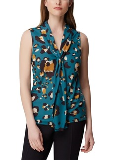 Tahari Asl Animal-Print Double-Sash Top
