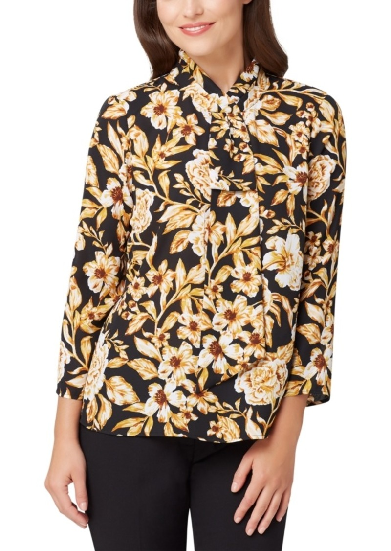 Tahari Asl Floral Faux-Tie-Neck Top