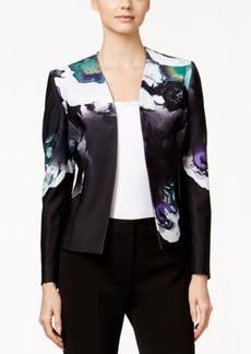 Tahari Asl Printed Pique Open-Front Jacket