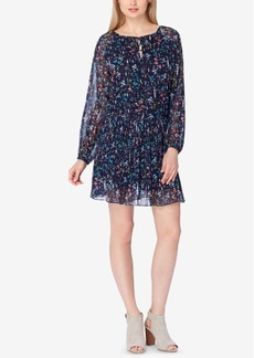 Tahari Asl Printed Pleated Chiffon Peasant Dress