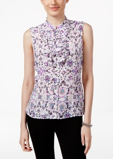 Tahari Asl Printed Ruffled Blouse