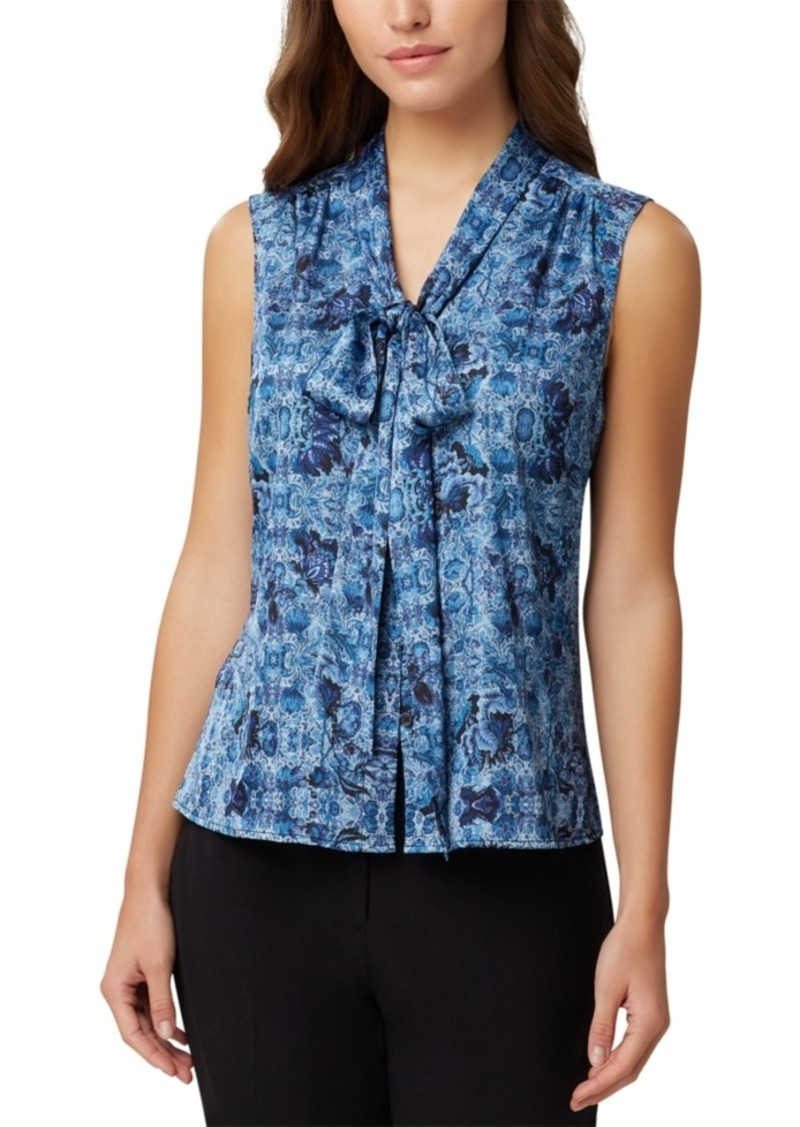 Tahari Asl Printed Sleeveless Bow Blouse