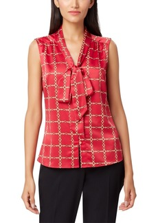 Tahari Asl Printed Tie-Neck Top