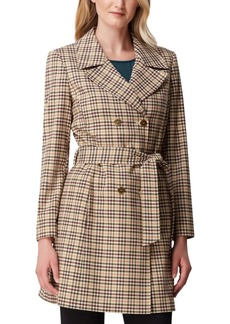 Tahari Asl Plaid Double-Breasted Trench Coat