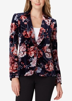 Tahari Asl Floral Printed Velvet One-Button Jacket