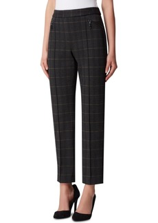 Tahari Asl Pull-On Plaid Pintucked Pants