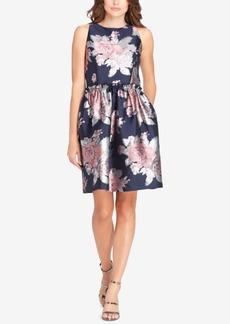 Tahari Asl Rose Jacquard Fit & Flare Dress