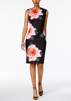 Tahari Asl Rose Scuba Sheath Dress