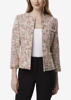 Tahari Asl Round-Neck Boucle Jacket