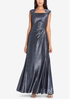 Tahari Asl Ruched Metallic Gown