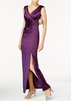 Tahari Asl Ruched Satin Gown