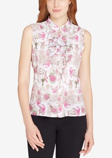Tahari Asl Ruffle-Front Stand-Collar Shell