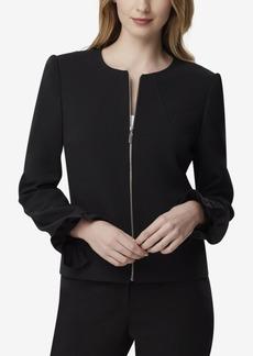 Tahari Asl Ruffle-Sleeve Zip Jacket