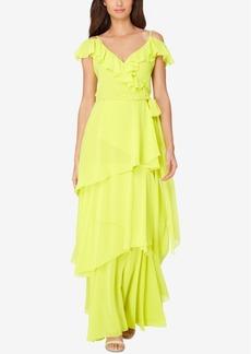 Tahari Asl Ruffled A-Line Gown