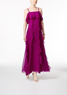 Tahari Asl Ruffled Chiffon Dress