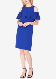 Tahari Asl Ruffled Cold-Shoulder Shift Dress