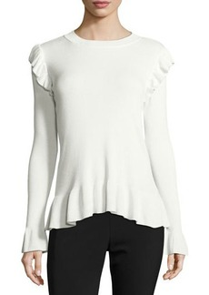 Tahari ASL Ruffled Crewneck Sweater