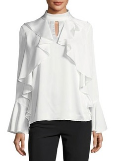 Tahari ASL Ruffled Mock-Neck Charmeuse Blouse