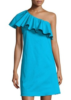 Tahari ASL Ruffled One-Shoulder Sateen Dress