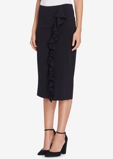Tahari Asl Ruffled Pencil Skirt