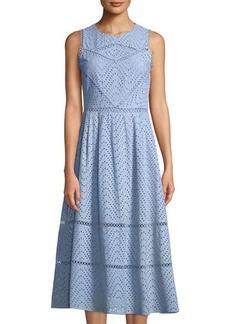 Tahari ASL Sabina Eyelet-Embroidered A-line Midi Dress