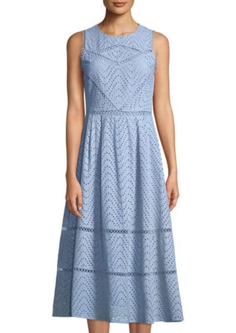 fbbea5c4923 Tahari Tahari ASL Sabina Eyelet-Embroidered A-line Midi Dress Now  65.25