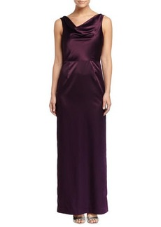 Elie Tahari Sahari Satin Gown with Lace Back