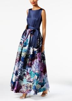 Tahari Asl Satin & Floral-Print Gown