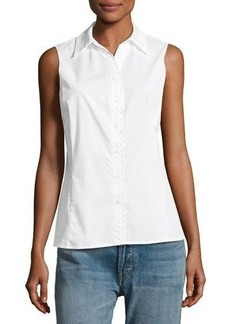 Tahari ASL Satin-Trim Sleeveless Poplin Blouse