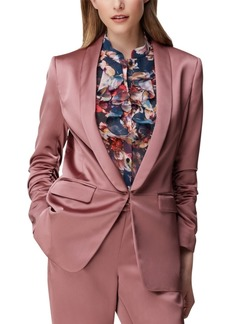 Tahari Asl Petite Scrunched-Sleeve Satin Blazer