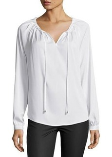Tahari ASL Self Tie-Neck Crepe Blouse