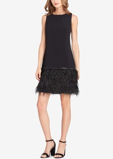 Tahari Asl Sequin & Faux Feather Dress