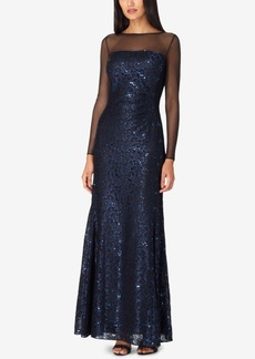 Tahari Asl Sequin-Embellished Lace Illusion Gown