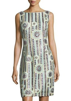 Tahari ASL Sequin-Embellished Sleeveless Sheath Dress