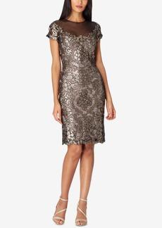 Tahari Asl Sequin Lace Illusion Dress
