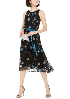 Tahari Asl Sequined & Embroidered Floral Midi Dress