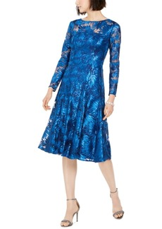 Tahari Asl Sequined Embroidered Midi Dress
