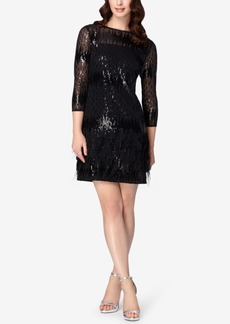 Tahari Asl Sequined Feather Illusion Dress