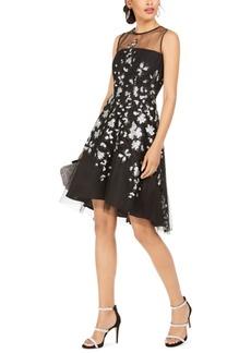 Tahari Asl Sequined-Flower Illusion Dress