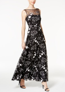 Tahari Asl Sequined Flower Illusion Gown